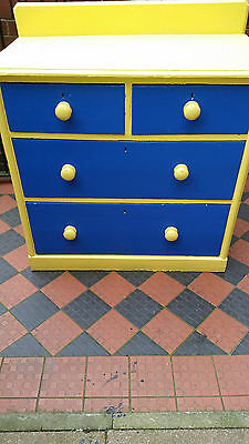 Stunning Victorian Solid Pine Painted Chest Drawers 2 Large 2 Small  Brass Locks