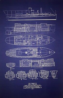 "Yacht Plan Motor Boat Cruiser 1911 Blueprint 23""x29"" Old Style Blue  (021)"