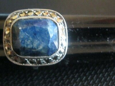 Antique vintage Art Deco Sterling Germany marcasite & blue stone ring size 5