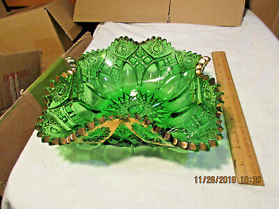 Antique Beautiful Green With Gold Trim Fluted  Bowl-