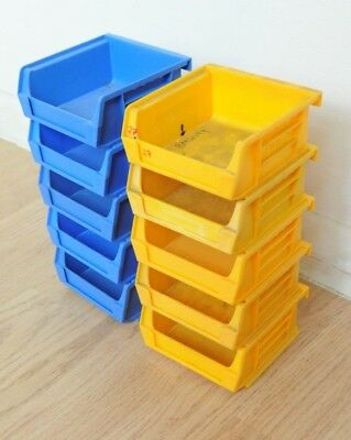 Job Lot of 10 Lin Bins Storage Plastic Boxes Garage Storage colours vary