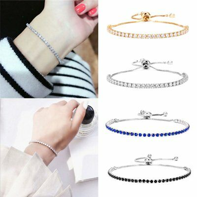 Fashion Silver Plated Crystal Chain Link Bracelet Women Cuff Bangle Jewelry Gift