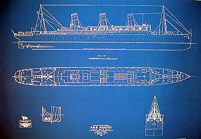"Ships Plan White Star Line RMS Majestic 1914 Blueprint Drawing 24""x34""  (054)"