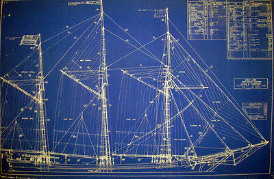 "Ships Plan Great Lakes Schooner 3 Masted Blueprint Drawing 19""x 29"" (057)"