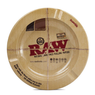 """""""RAWTHENTIC"""" 5 1/2"""" Round Metal Ashtray by RAW Natural Unrefined Rolling Papers"""