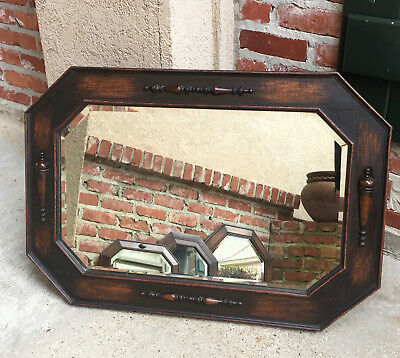 Antique English Carved Oak Octagon Beveled WALL MIRROR Jacobean Arts & Crafts