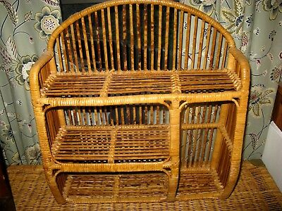 Vintage Bamboo Wicker Rattan 3 Tier Hanging Wall Or Table Shelf