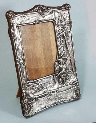 Superb Art Nouveau Native American Indian Silver Plate Picture Photo Frame 1906