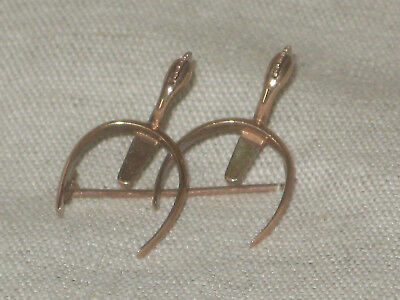 Ancienne Broche En Or 14K Paire Eperons