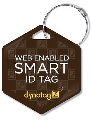 Dynotag Deluxe Steel Luggage Tag- Hexagon Design, Brown