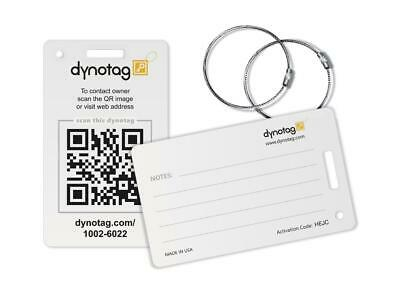 Dynotag Luggage Tag set - 2 UNIQUE Tags with Chains (Classic White)