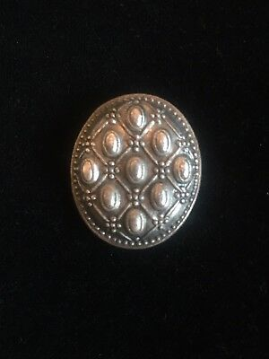 Large Vintage Oval Metal Button with Decorative Detail