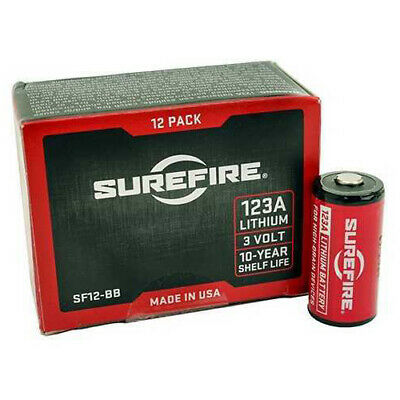 Surefire Battery Cr123a Lithium Battery 12/Pack Box Red Surefire12-bb