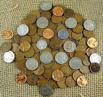 Starter Collection MIX Lot of 90 Plus OLD U.S. Coins w/Some At 90% Silver *3420