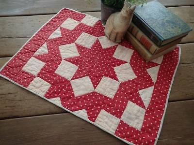 Antique Red Star Burst Table or Doll Quilt 22x16