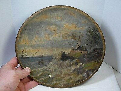 cracked Antique Primitive Wooden Bowl Folk Art Painting Scenic Painted Wood Vtg