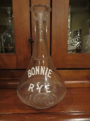 "SALOON BACK BAR WHISKEY BOTTLE "" BONNIE RYE "" white enamel Louisville KY BROS."