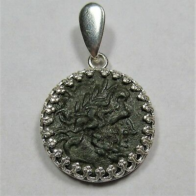 Authentic Ancient Greek Bronze Coin Sterling Silver Pendant Setting Zeus #53