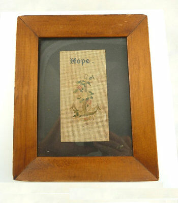 """Antique Victorian Punch Paper Perforated Needlework Framed """"hope"""" Anchor"""