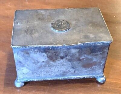 Antique George III Silver Plate Footed Box with Hinged Cover
