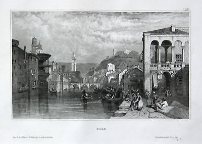1850 Pisa Toskana Italien Italia Italy Ansicht view Stahlstich steel engraving