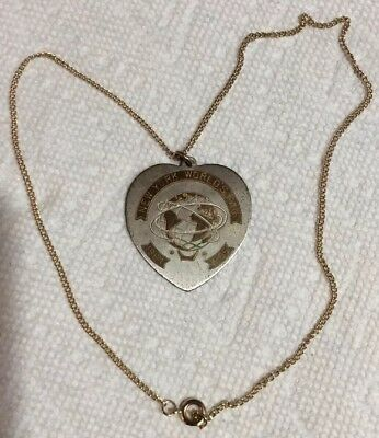 Vintage 1964 New York Worlds Fair Silver & Gold Tone Heart Pendant Necklace