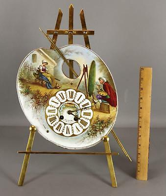 RARE Antique 19thC Porcelain Painting French Clock Gilt Easel & Artists Pallet