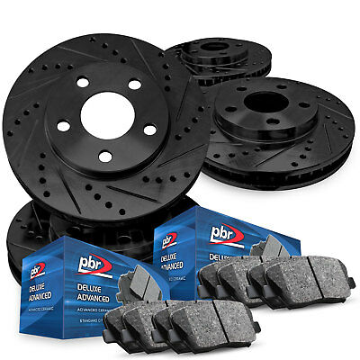 For 1987-1989 Nissan 300ZX Front Rear eLine Drill Slot Brake Rotors+Ceramic Pads