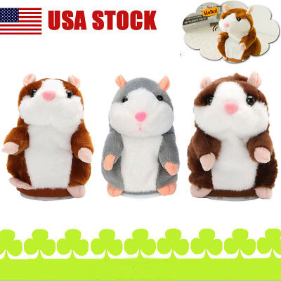 Fuuny Talking Hamster Electronic Plush Toy Mouse Pet Sound Gift For Baby Kids US