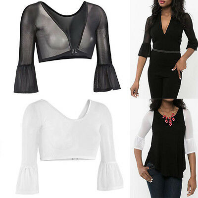 Women Sexy Both Side Wear Sheer Seamless Arm Shaper Crop Top Mesh Shirt Blouses