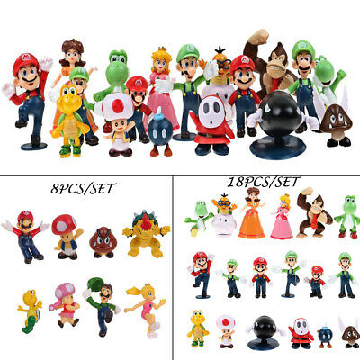 LOT of 8/18pcs Super Mario Bros Brothers Yoshi Game Mini Figures Toy Cake Topper