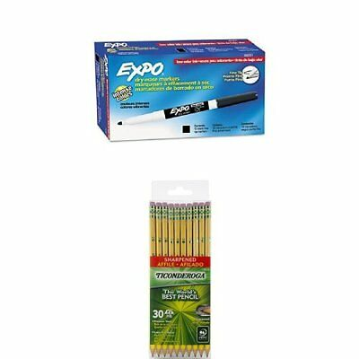 Expo Low-Odor Dry Erase Markers, Fine Point, Black, 12-Count and Dixon Ticondero