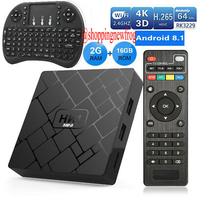 HK1 Mini 4K Android 8.1 Smart TV Box Set Top Box Media Player Quad Core 2GB+16GB