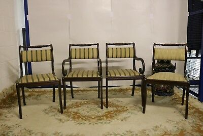 Set of 4 Four Bar Back Dining Chairs Antique Reproduction Mahogany Regency Style