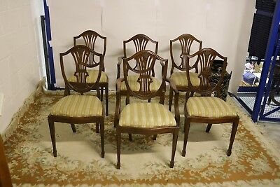 Set of 6 Antique Reproduction Shield Back Dining Chairs Mahogany Hepplewhite