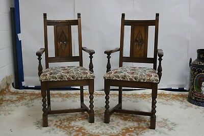 Old Charm Light Oak Pair of Carver Dining Chairs Model 2149 Armchair
