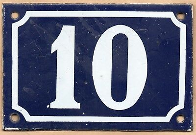 Old blue French house number 10 door gate plate plaque enamel steel metal sign