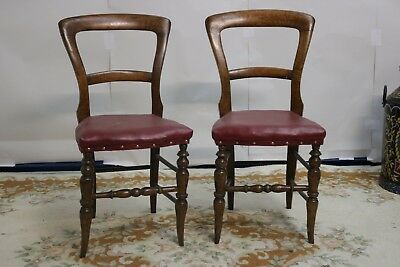 Pair Mahogany Balloon Back Dining Chairs Bedroom Occasional Victorian Antique