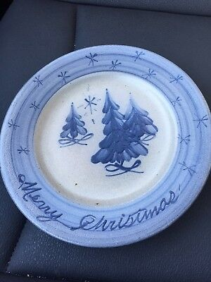 Rowe Pottery Works Merry Christmas Tress Hand Crafted Salt Glazed Plate Dish