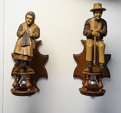 Rare Pair French Carved Wood Wall Lights Sconces - Farmer Figurines -Woman Knits