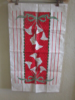 Vintage Mid Century kitchen Tea Towel ivory linen Christmas Bow Daffodils JCP