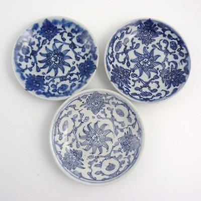 3 X Chinese Blue And White Porcelain Plates, Jiaqing Mark