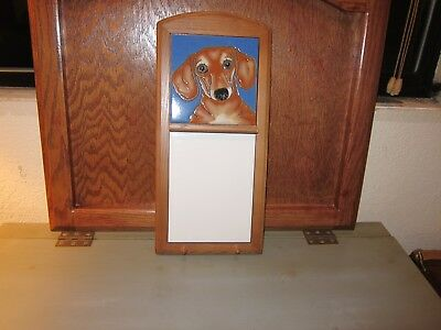 Dachshund Dog Memo Board w/Leash/Key Holder  - Handpainted by Pumpkin Tile