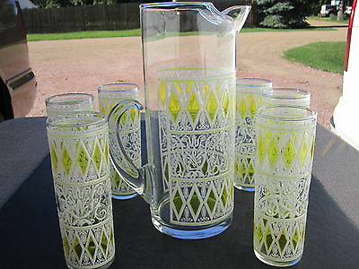 VTG Retro 60's BOLD Hand Painted Decor Large Pitcher With 6 Ice Tea Glasses Set