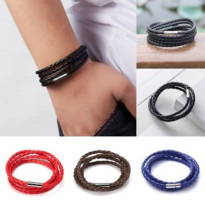 Unisex Men Multi-layer Braided Leather Steel Magnetic Clasp Bracelet Handmade