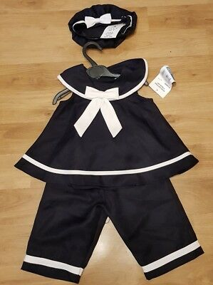 NEW BABY GIRLS WHITE & NAVY SAILOR 3 PIECE ROMPER STYLE SET NAUTICAL 18-24 m