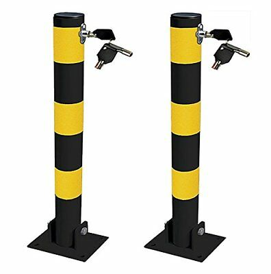 2 x Streetwize Security Theft Round Folding Parking Post with Keys, Lock & Bolts