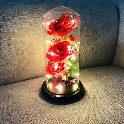 Three Artificial Rose in a Glass Bottle Light for Valentine Day Ornament Gift D