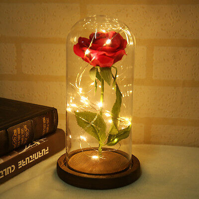 Rose Fallen Petals Glass Bottle Light Table Decoration Ornament Festival Gift D