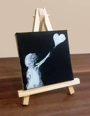 Mini Original Canvas Painting After BANKSY Girl With Balloon Desk Art Gift Idea